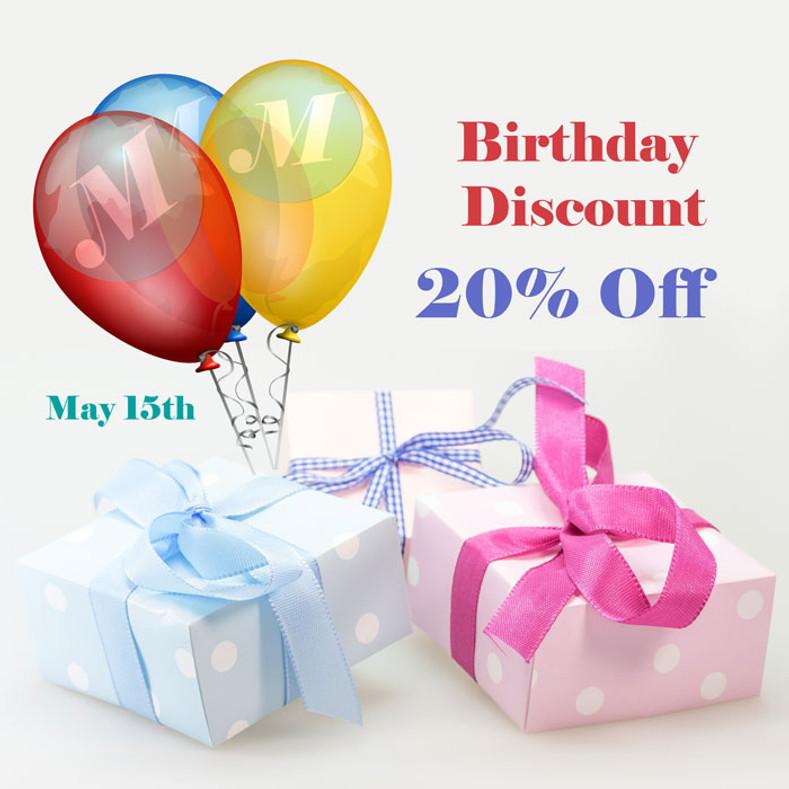 May Birthday Discount