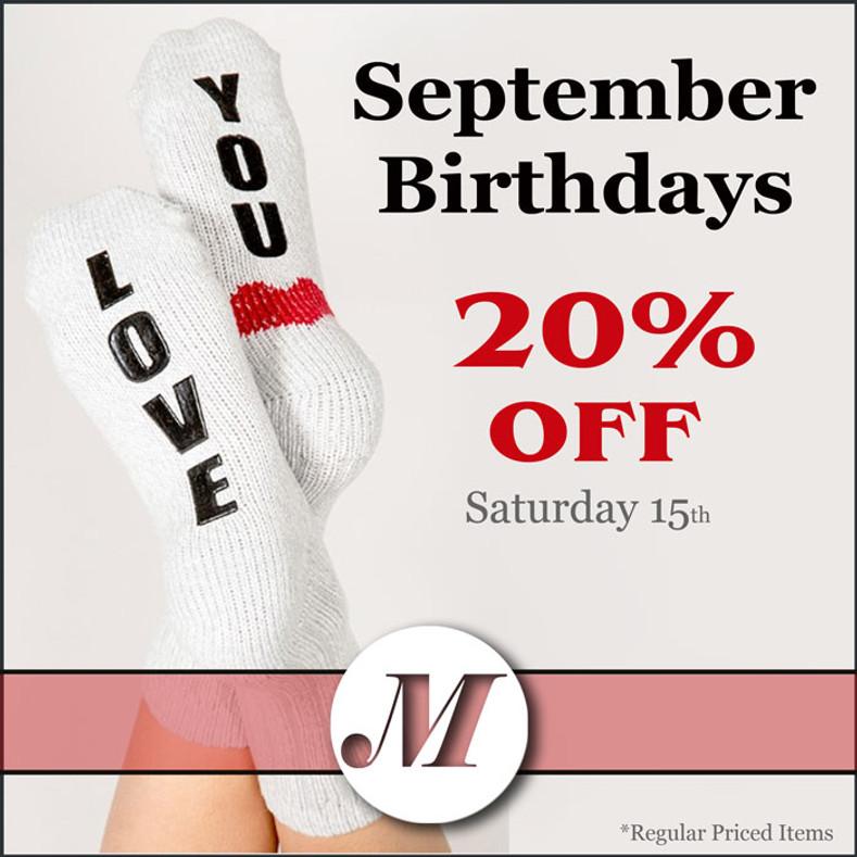 September Birthdays - 20% OFF
