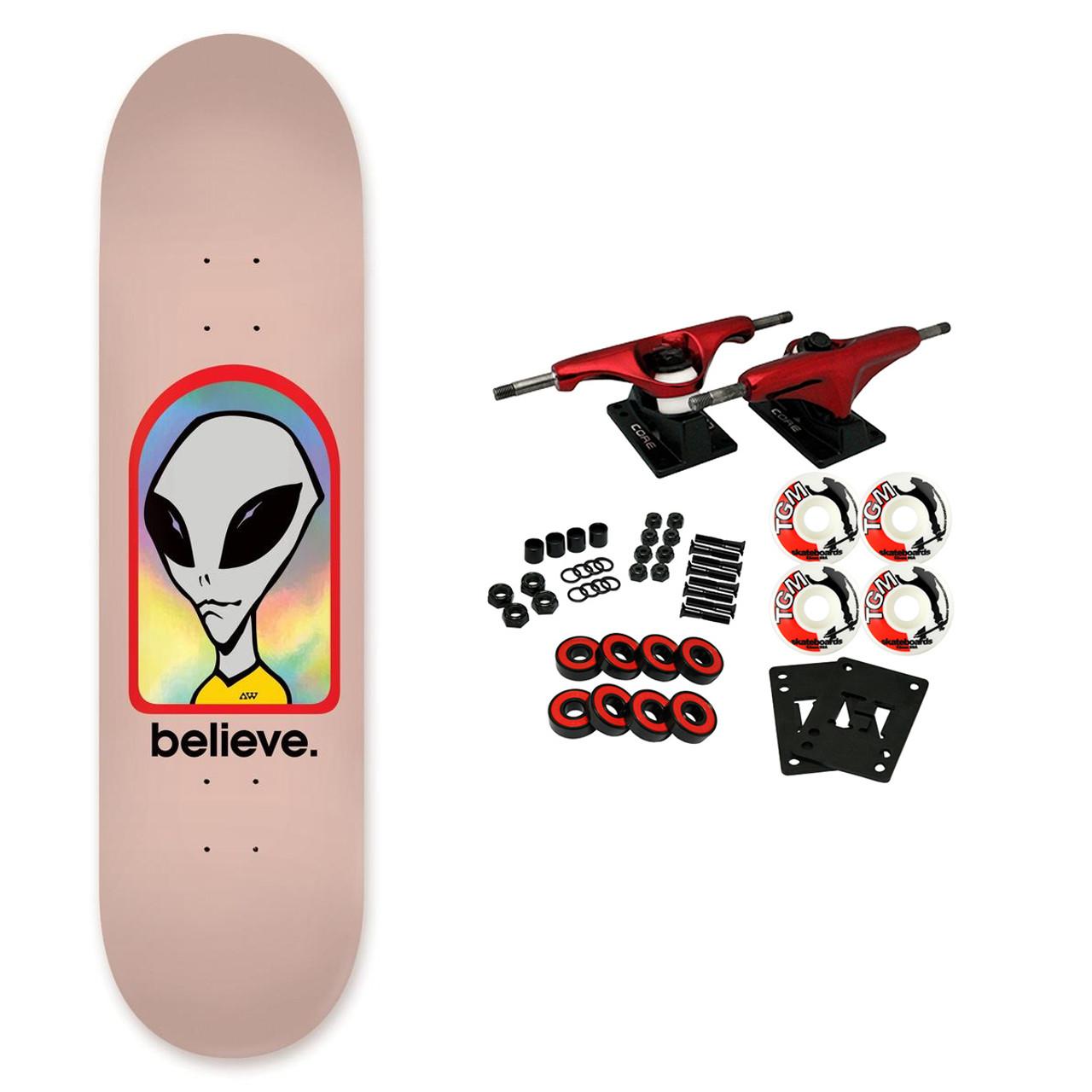 """Alien Workshop 8.125/"""" Believe Rose Holographique Factory Complete Skateboard"""
