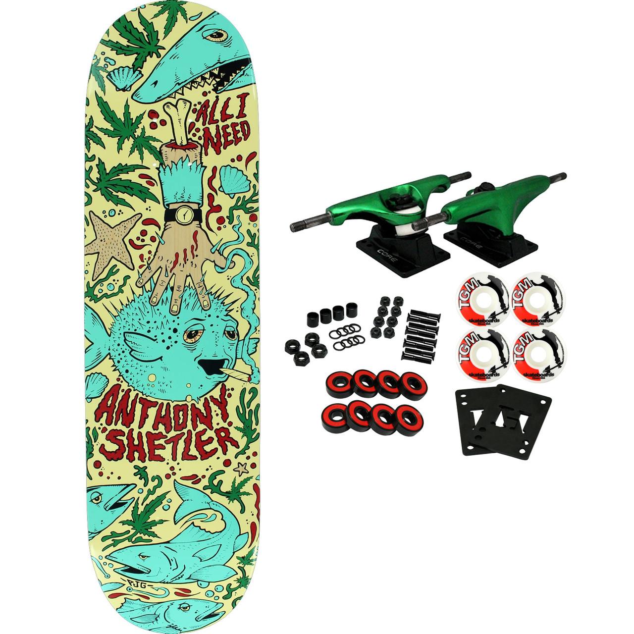 "All I Need Skateboard Assembly Shetler Pufferfish 8.3/"" Complete"