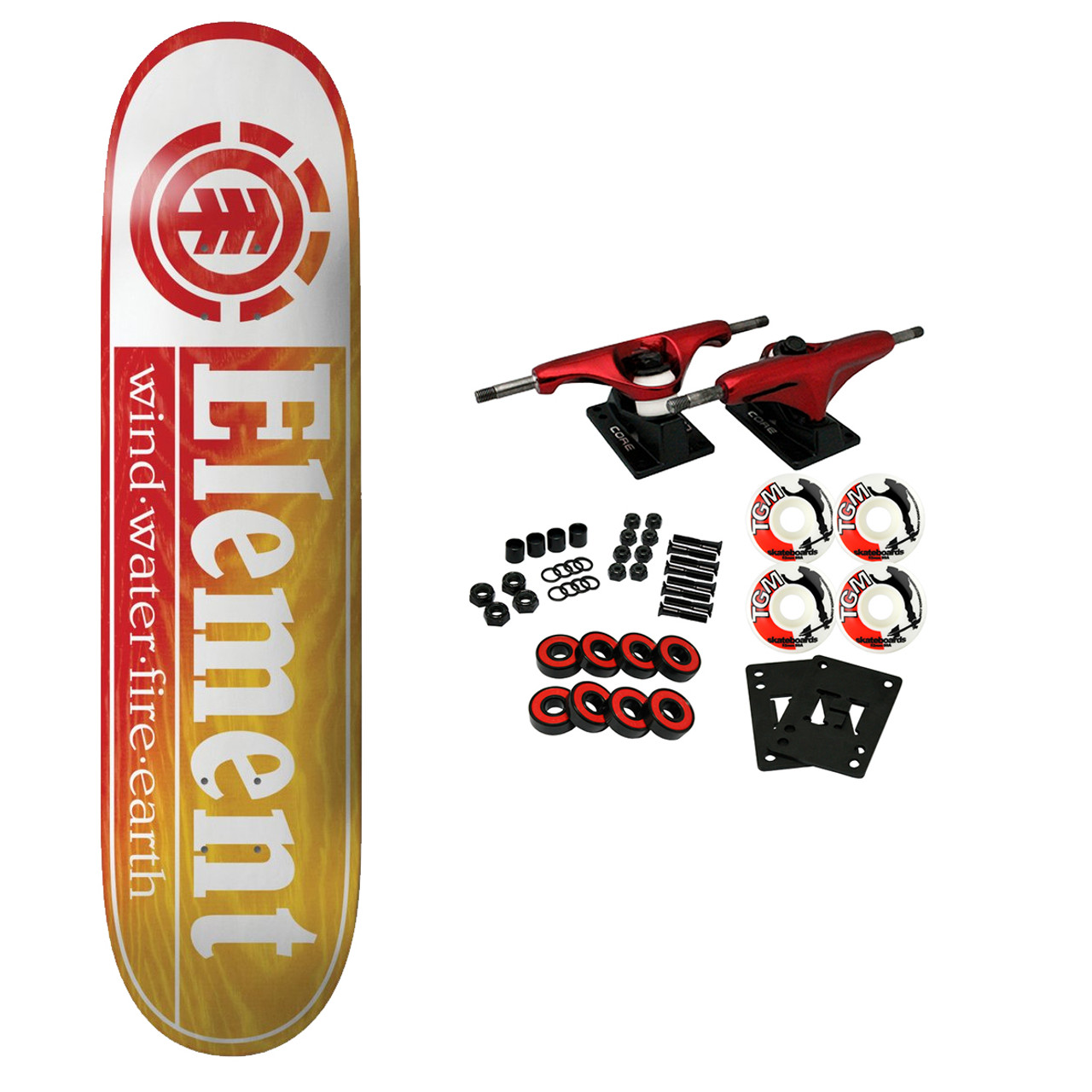 """Details about  /Element Skateboard Assembly Section Red//Yellow 8.25/"""" Complete"""