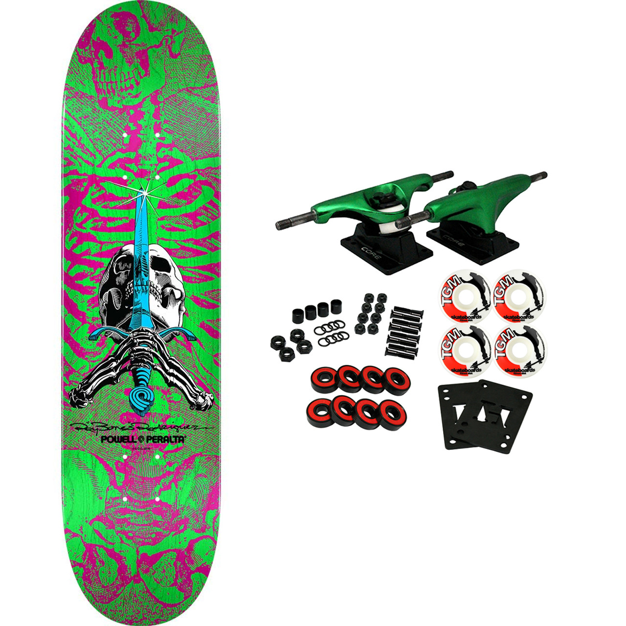 """Powell Peralta Skateboard Assembly Skull and Sword Pink//Green 8.0/"""" x 31.45/"""" Com"""