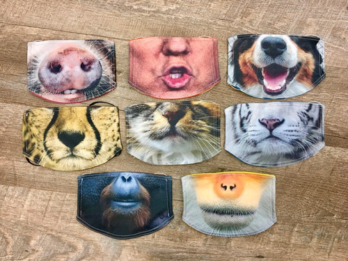 Photo print face masks, face shields, face coverings: - Made from a layer of 100% cotton fabric, and a layer of polyester/cotton blend fabric with printed fabric designs. - Washable, reusable and fashionable - Soft breathable fabric - jersey knit ties for ear loops (pig, Donald Trump, dog, cheetah, cat, tiger, ape, baboon)