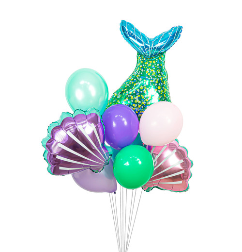 This Mermaid Balloon Cluster will make a whimsical addition to any Birthday, Baby Shower, Bridal Shower or any other celebration! Your guests won't be disappointed. Located at Wild Minds Studio in Rugby, ND. This listing includes: Mylar Balloons: 1 Mermaid Tail 1 Pink Seashell 1 Purple Seashell; Latex Balloons: 1 Purple 1 Pearl Lavender 1 Wintermint 1 Teal 1 Blush 1 Mint. All 9 balloons will be packaged together with curling ribbon.