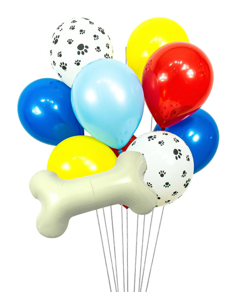 This Paw Patrol Balloon Cluster will make a whimsical addition to any Birthday, Preschool/Kindergarten Graduation or any other celebration! Your guests won't be disappointed. Located at Wild Minds Studio in Rugby, ND. This listing includes: Mylar Balloons: 1 Dog Bone; Latex Balloons: 2 White and Black Paw Print 2 Red 2 True Blue 2 Yellow 1 Pastel Blue.