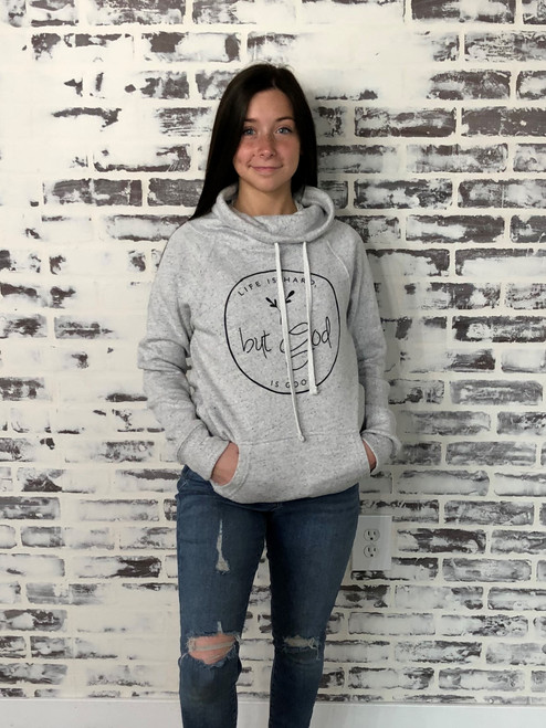 MV Sport 55% cotton, 45% polyester heathered fleece cowl neck sweatshirt with screen printed design.