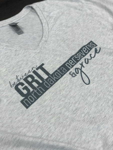Grit and Grace North Dakota T shirt featuring all the towns in North Dakota positive message for the Corona Virus COVID-19 pandemic.