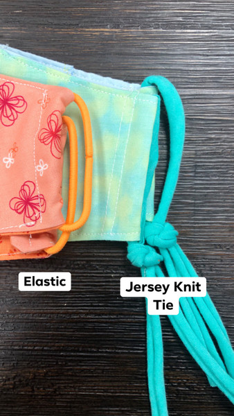 Elastic and Jersey Knit Tie options for Olson face mask