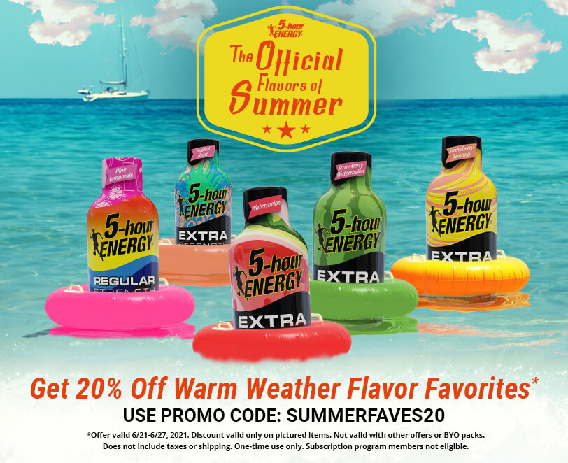 Get 20% Off Warm Weather Flavor Favorites* - Use Promo Code: SUMMERFAVES20  *Offer valid 6/21-6/27,2021. Discount valid only on specified flavors. Not valid with other offers or BYO packs. One time use only. Subscription program members not elegible.