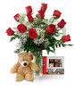Dozen Roses Superhero by Winnipeg Florist Dragonfly Flowers One Dozen Roses, 15 Piece Rogers Chocolates and a Cuddly Bear