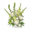 White and green urn