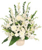 Graceful Devotion Funeral Flowers  Shown at $125.00	6-J maché container wet floral foam foliage: aspidistra, salal, myrtle 4 white gladiolus 2 stems white lilies 4 white stock 3 stems white larkspur 6 white carnations 3 white spider mums