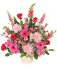 Beautiful Soul Funeral Flowers 6-J maché container wet floral foam foliage: myrtle, salal, eucalyptus ('Baby Blue'), dusty miller pink snapdragons  stems hot pink larkspur pink spider mums hot pink gerberas red roses stems lavender aster ('Monte Casino') stems hot pink mini carnations