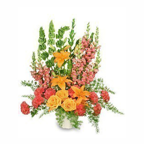 5-J maché container wet floral foam foliage: leather leaf, myrtle tips, sprengeri 10 hot pink carnations 3 orange roses 2 stems orange lilies 3 bells of Ireland 6 peach snapdragons ('Talisman'