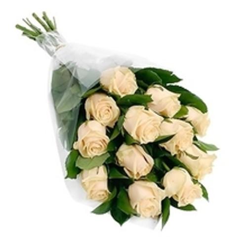 Dozen White Roses with Greens