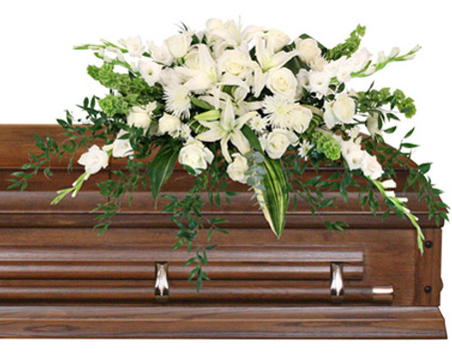 casket saddle with wet floral foam foliage: aspidistra leaves, ruscus  white snaps  stems white Lilies  white Roses  white Spider Mums  Bells of Ireland  stems white cushion Poms