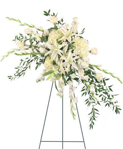 "54"" Easel large wet floral foam cage Foliage: Ruscus  white Gladiolus  stems white Lilies  white Hydrangeas white Roses white Stock stems white cushion Poms"