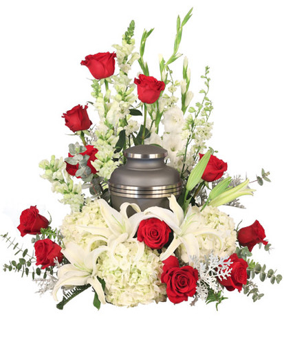 red roses  white snapdragons  white gladiolus  stems white larkspur  white hydrangea stems white lilies