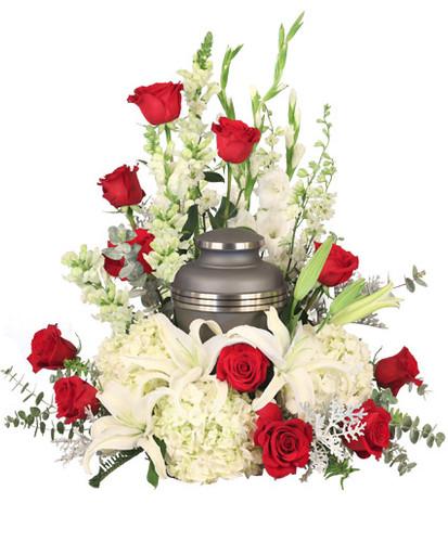 red roses  white snapdragons  white gladiolus  stems white larkspur  white hydrangea stems white lilies