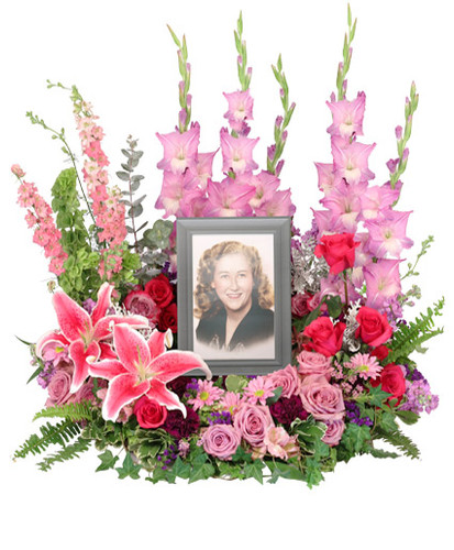 foliage: variegated pittosporum, ivy, sword fern, silver dollar eucalyptus  pink roses hot pink roses  stems pink daisy poms 1 stem Stargazer lilies  stems pink stock  pink gladiolus stems pink larkspur  bells of Ireland deep purple carnations stems purple statice