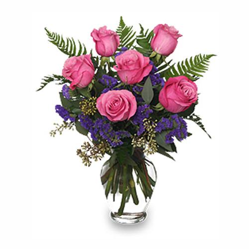 HALF DOZEN PINK ROSES Vase Arrangement