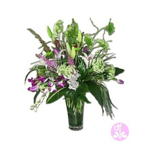"""Top Shelf"" Flower Arrangement by Designer Denise of Dragonfly Flowers"