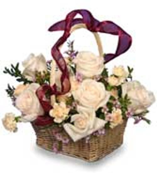 Rose Garden Basket of Ivory Roses