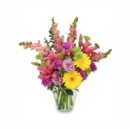 stem green bupleurum 3 stems green button poms 5 lavender carnations 4 pink snapdragons 2 stems hot pink lilies 2 lavender roses 2 yellow gerberas