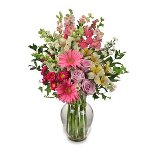 """7"""" classic urn vase foliage: ivy, myrtle 2 pink gerberas 3 lavender roses 1 stem hot pink asters ('Motsumoto') 3 white snapdragons 2 stems bi-colored white & yellow alstroemeria 5 stems pink larkspur 2 stems white asters ('Monte Casino')"""