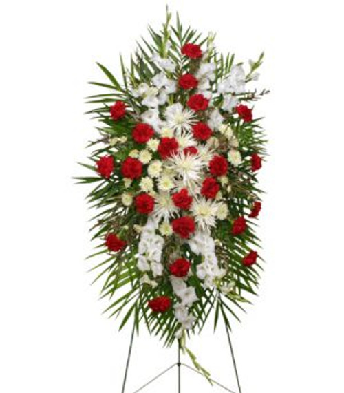 """54"""" easel stand large wet floral foam cage foliage: teepee, leather leaf 24 red carnations 8 white Fuji mums 4 stems white cushion poms 8 stems white gladiolus 5 stems white waxflowers"""