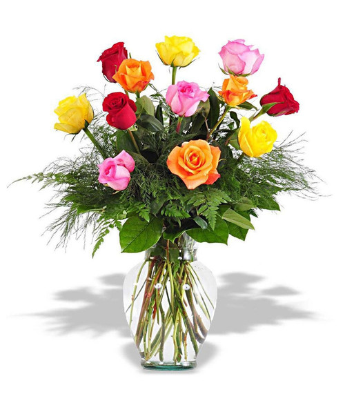 Beautiful mix of 12 multi colored roses