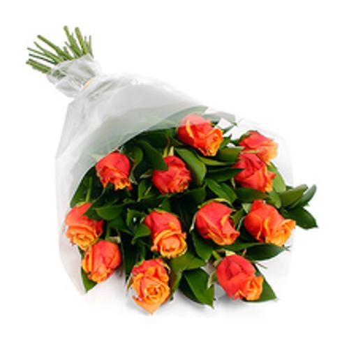 Dozen Orange Roses with Greens