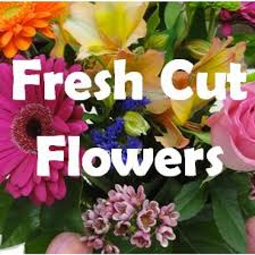 Fresh cut flowers wrapped in cello. Let your special person design in there own vase. ( DOES NOT COME WITH A VASE )