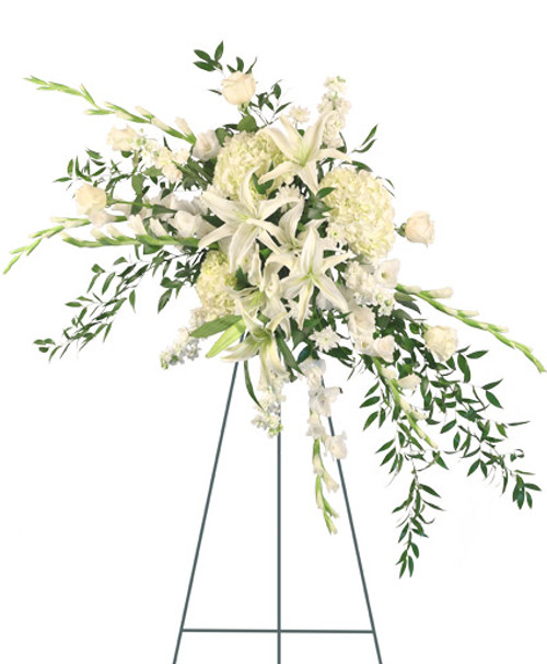 """54"""" Easel large wet floral foam cage Foliage: Ruscus  white Gladiolus  stems white Lilies  white Hydrangeas white Roses white Stock stems white cushion Poms"""