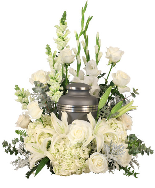 white hydrangeas  white roses  white snapdragons  stems white lilies