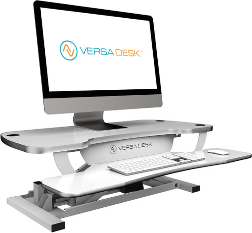 The VersaDesk Power Pro is the  best standing desk converter on the market.  Includes electric push-button height control technology, 3 grommet holes for optimal monitor mounts and comes in 5 colors (black matrix, gray matrix, gloss white, maple woodgrain, and cherry woodgrain).  Take a stand for your health and End The Sit Show!