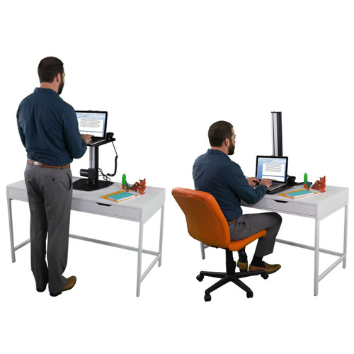 The Mini Power Desktop Riser | Sit or stand effortlessly with your laptop | Powered Height Adjustment