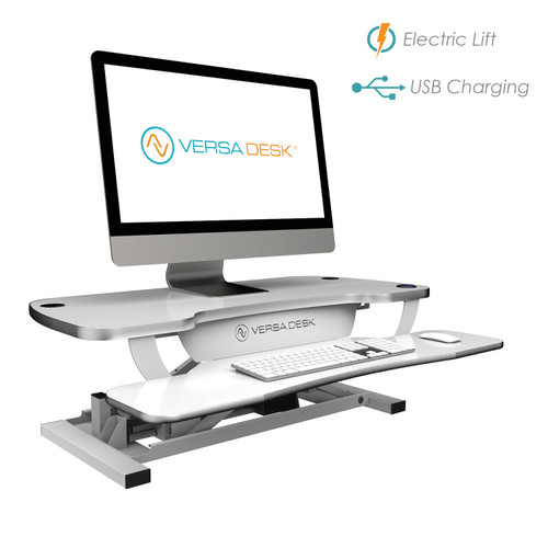 VersaDesk PowerPro® Plus is just like the original electric standup desk converter, PowerPro®, but with an upgraded switch.  The switch has a USB charger built in, back light and locking feature!