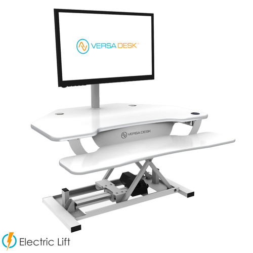 PowerPro® Deluxe Corner Sit Stand Desk Converter | Electric sit stand desk powered by push button control | Built-in USB power source for your iPhone | VersaDesk