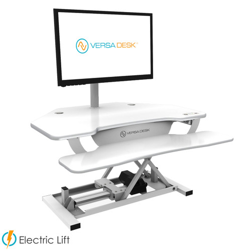 PowerPro® Elite Corner Sit Stand Desk Converter | Electric sit stand desk powered by push button control | Built-in USB power source for your iPhone | VersaDesk