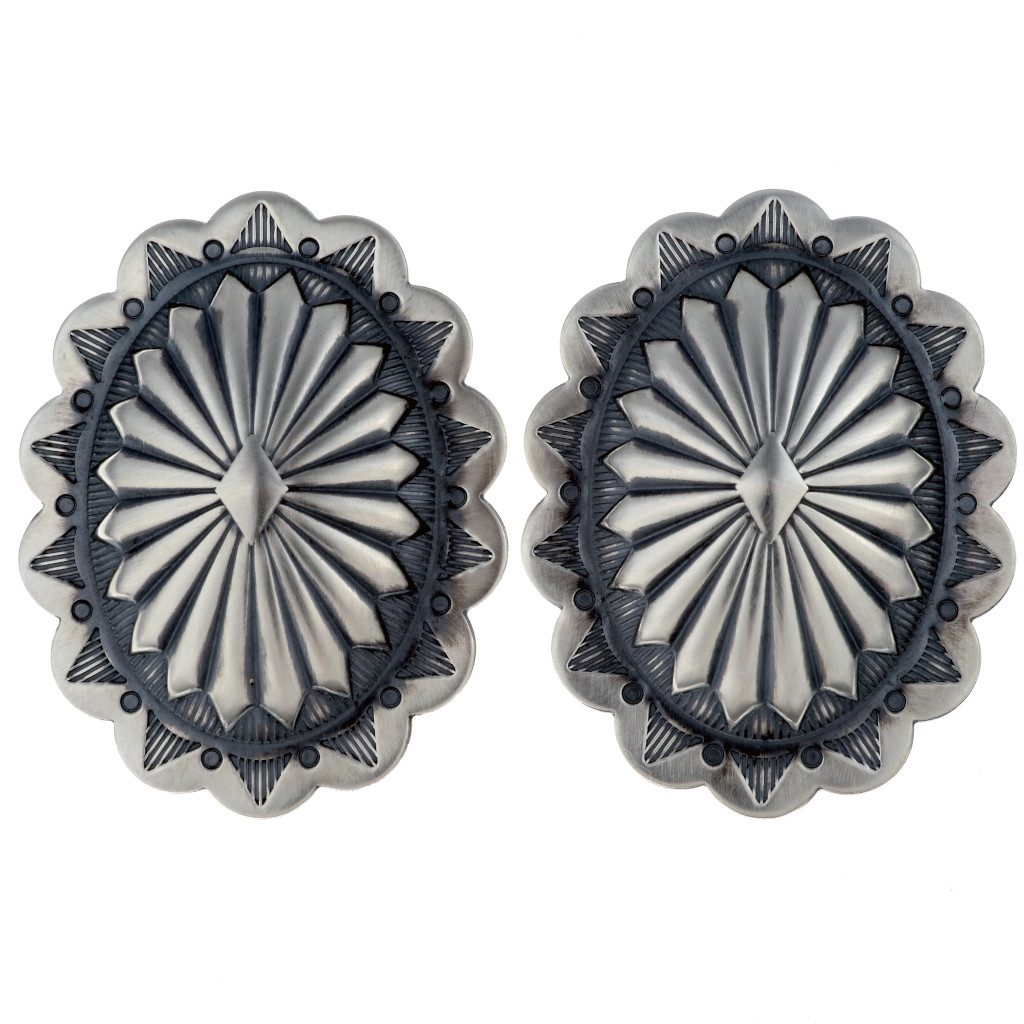 Sterling Concho Earrings Posts Navajo Hammered Silver Patterns 0001