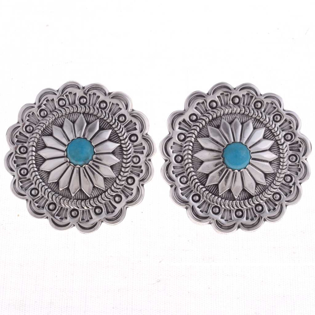 Silver Concho Earrings Handmade Navajo Turquoise Posts 3213