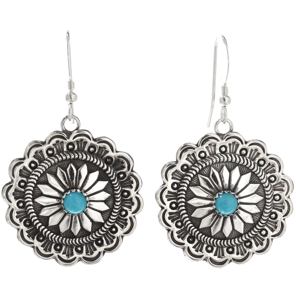 Navajo Turquoise Concho Earrings Silver French Hooks 1111