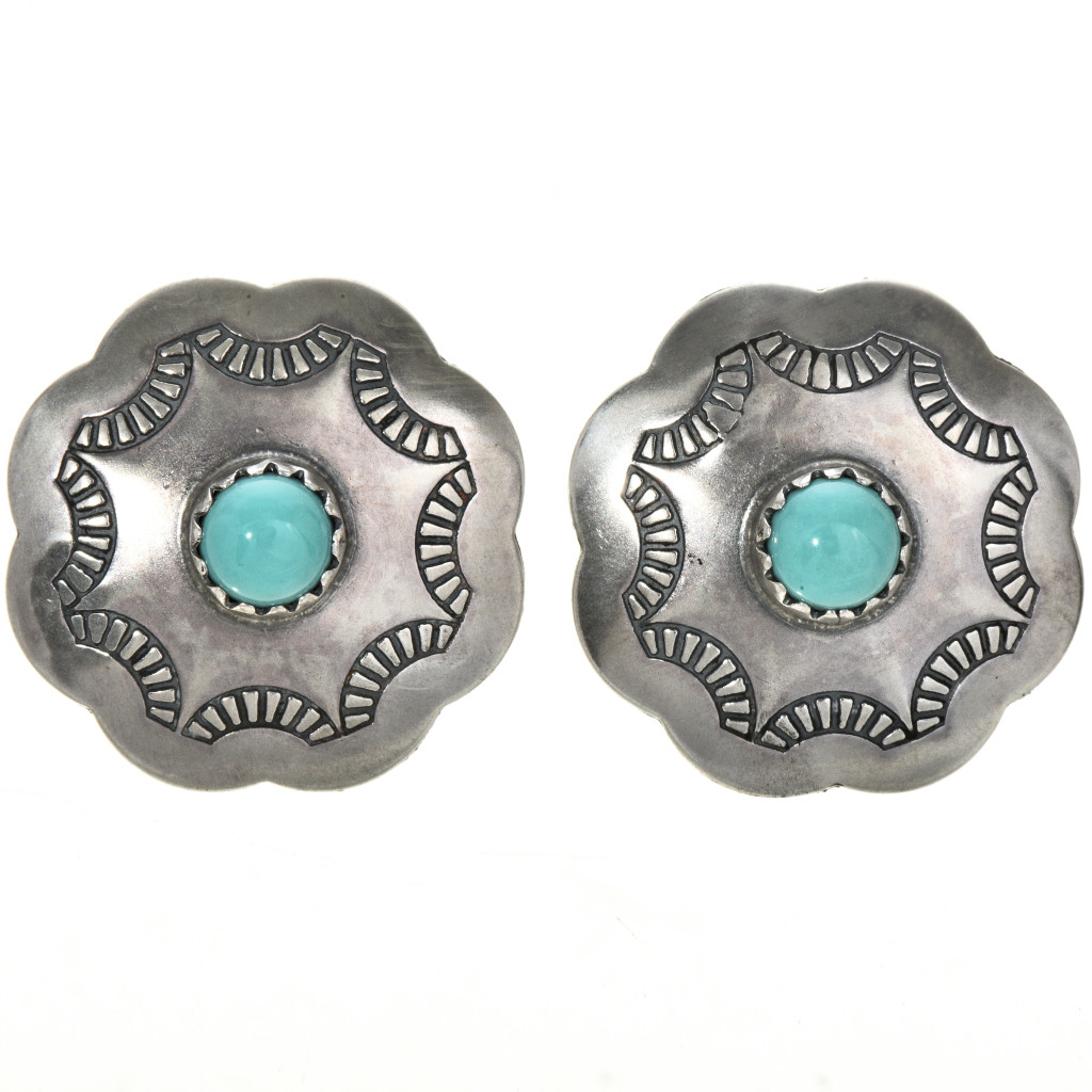 Turquoise Silver Concho Navajo Earrings Southwest Post Style 3200