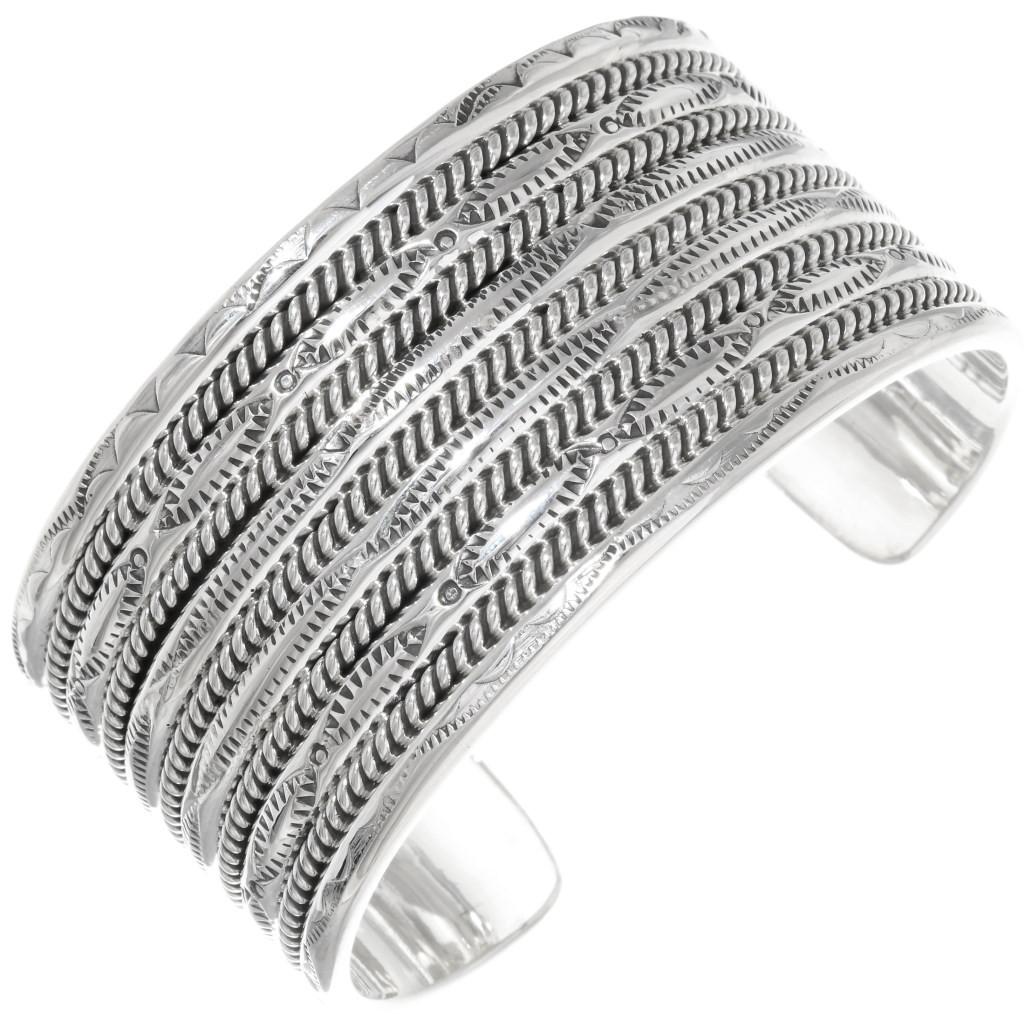 Black hammered sterling silver half round cuff bracelet