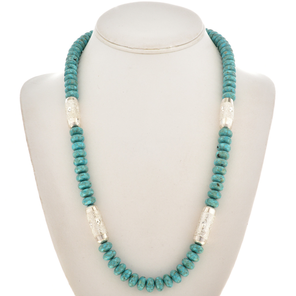 Native American Jewelry  Navajo made genuine turquoise rondel 3 strand necklace.