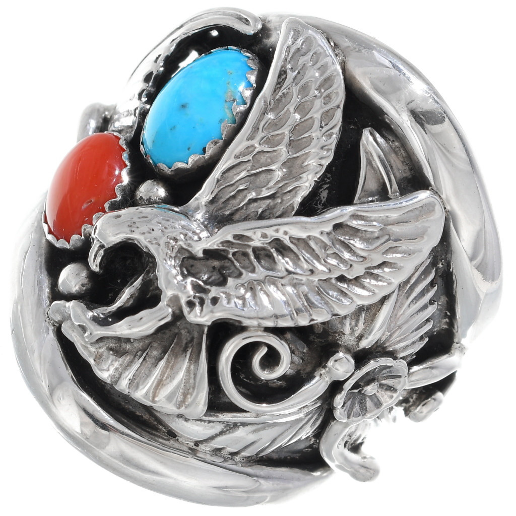 Finger size 11 Vintage Native American Navajo Mens Sterling Silver Eagle Ring with Sleeping Beauty Turquoise and Coral