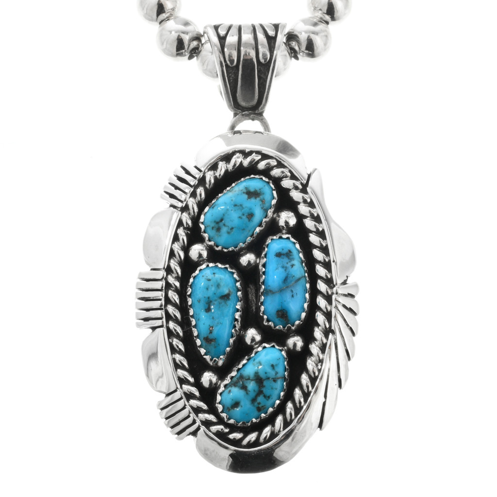Santa Fe Style Sterling Silver /& Kingman Turquoise Nuggets 5 Strand Necklace 22