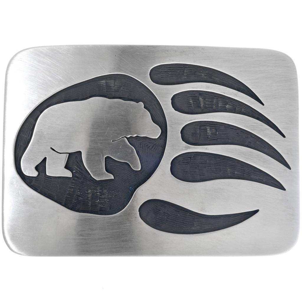 Western Native American Indian Art Belt Buckle Bear Claw