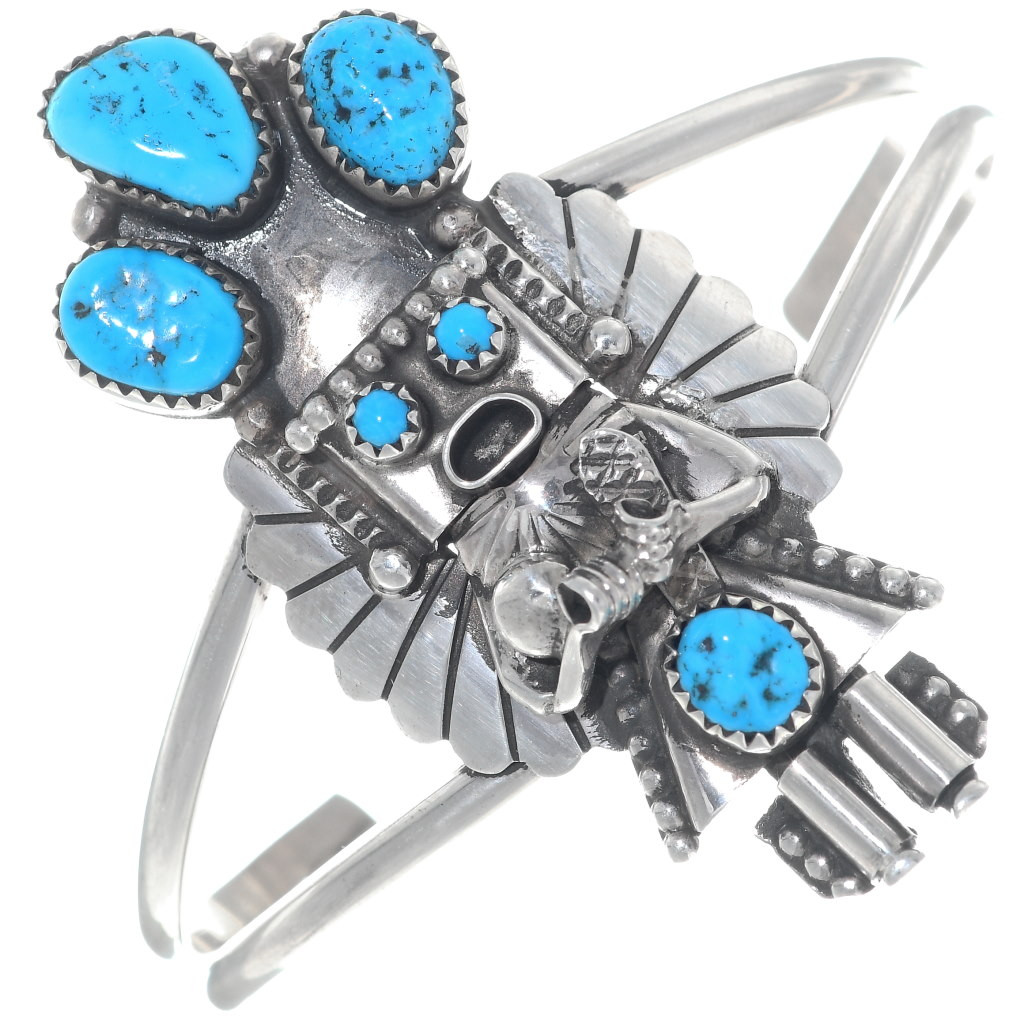 SALE...Wide Sterling Silver and Turquoise Navajo Butterfly on Leather Bracelet